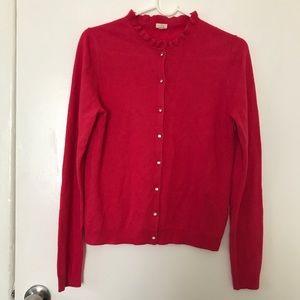 J Crew Cardigan Sweater Womens Sz M Red Button